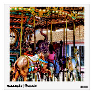 Merry Go Round With Elephants Wall Decal