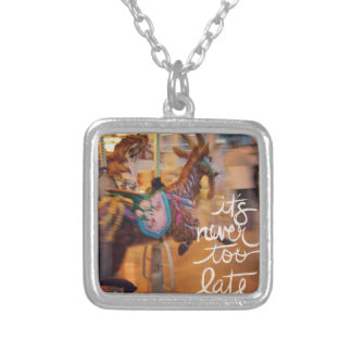 Merry Goat It is Never Too Late Square Pendant Necklace
