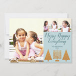 """Merry Gold Blue Modern 3 Photo Collage Holiday Card<br><div class=""""desc"""">Photo templates make designing your own 3 photo collage holiday cards a snap with this modern hand written script Merry Happy Everything design in gold and pastel blue. Add your favorite large photo on the left then add two smaller pictures on the upper right above MERRY HAPPY EVERYTHING in dark...</div>"""