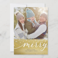 Merry Gold   Christmas Photo Card