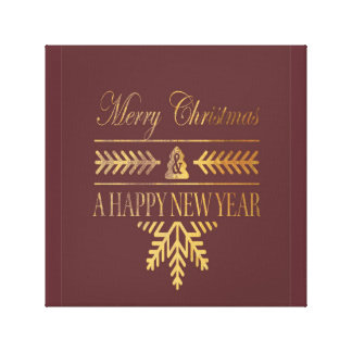 Merry Gold Christmas wall canvas decoration