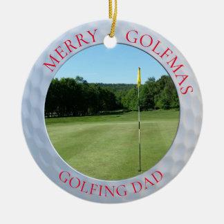 Merry Golfmas Golfing Dad Golf Photo Ornament