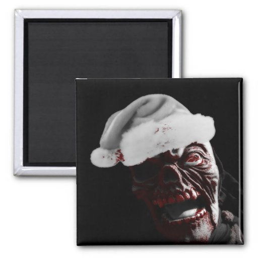 Merry Gory Halloween Zombie Santa 2 Inch Square Magnet