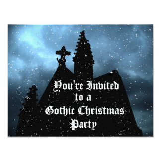 Merry Gothic Christmas blue invitations