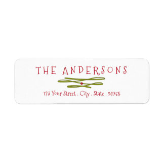 Merry Greetings Green Banner Return Address Label