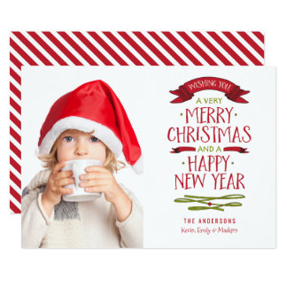 Merry Greetings Red Banner Holiday Photo Card