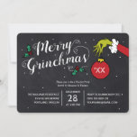 "Merry Grinchmas | Grinch Holiday Party<br><div class=""desc"">Invite all your family and friends to your Holiday Party this year with these cute Dr. Seuss chalkboard invites. Personalize by adding all your party details.</div>"
