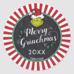"Merry Grinchmas | Grinch Holiday Party Classic Round Sticker<br><div class=""desc"">Celebrate your Holiday Party this year with these cute Dr. Seuss chalkboard stickers. Personalize by adding the year or custom text.</div>"