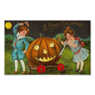 Merry Halloween Boy and Girl Posters