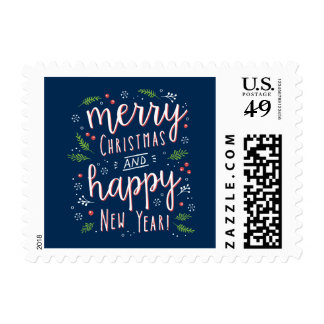 Merry Happy Editable Color Christmas Holiday Stamp