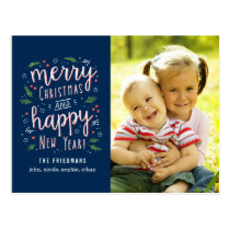 Merry Happy Editable Color Holiday Photo Card