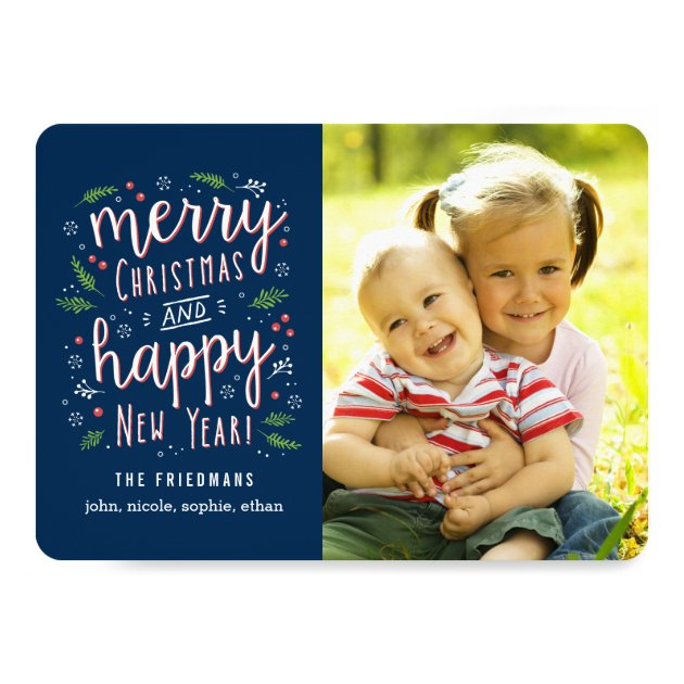 Merry Happy Editable Color Holiday Photo Cards