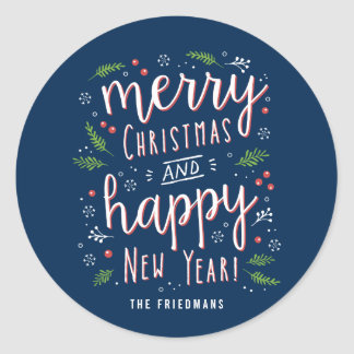 Merry Happy Editable Color Holiday Sticker
