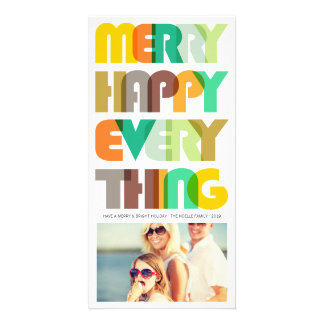 Merry Happy Everything Colorful Holiday Photo Card