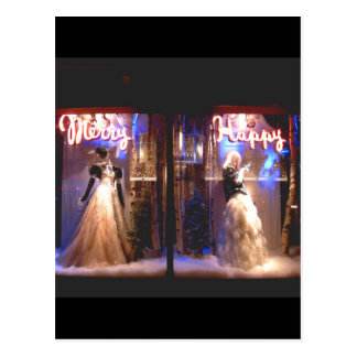 Merry Happy Fashion Gowns Holiday WIndows NYC Postcard