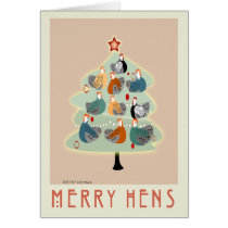 Merry Happy hens Christmas tree cards, stationery Card
