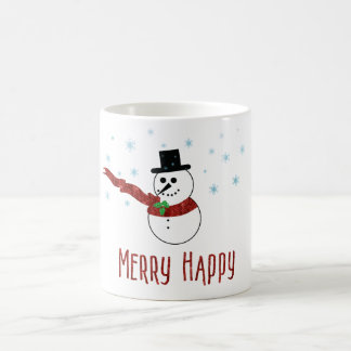 Merry Happy Snowman with Red Scarf Coffee Mug