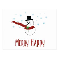 Merry Happy Snowman with Red Scarf Custom Text Postcard