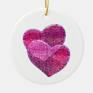 Merry hearts - sequined hearts Christmas ornament