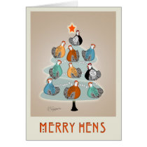 Merry Hens Christmas tree greeting card