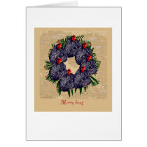 Merry Hens Christmas wreath (backyard chickens) Card
