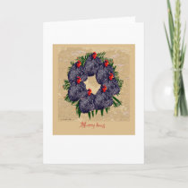 Merry Hens Christmas wreath (backyard chickens) Holiday Card