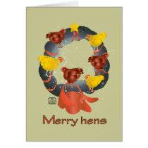 Merry Hens Christmas wreath Card