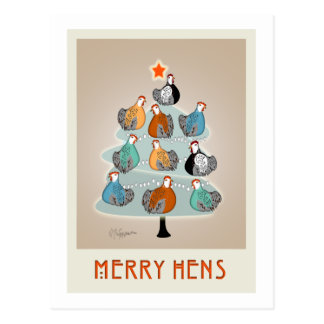 Merry hens in a tree Christmas Card