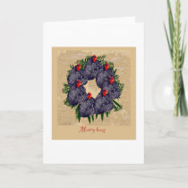 Merry hens Wreath Card