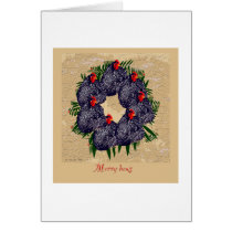 Merry hens Wreath Card