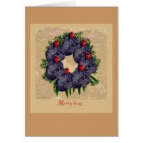 Merry hens wreath Christmas greeting Card
