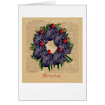 Merry hens wreath Christmas greeting Card