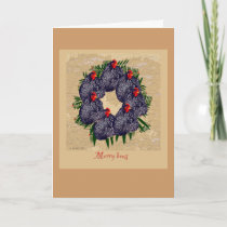 Merry hens wreath Christmas greeting Holiday Card