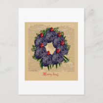 merry hens wreath gifts holiday postcard