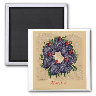 merry hens wreath gifts magnet