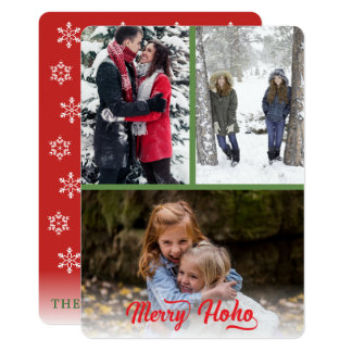 Merry Ho Ho Red Overlay Script Feathered Edges Card