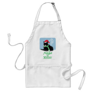Merry Holiday Cat Adult Apron