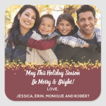 Merry Holiday Christmast Cheer Family Photo Gold Square Sticker
