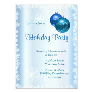 Merry  Holiday Party on Ice-blue Card