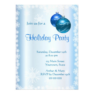 Merry  Holiday Party on Ice-blue Custom Announcements