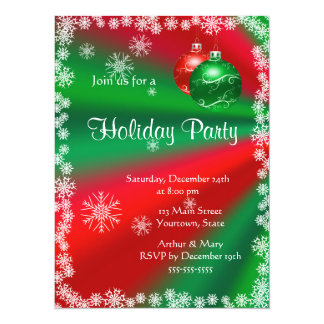 Merry  Holiday Party on Red and Green Announcement