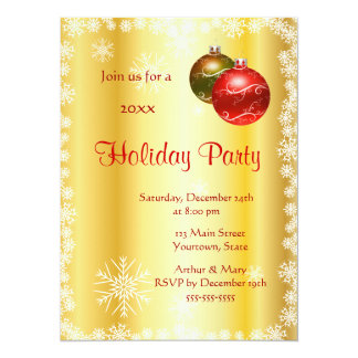 Merry  Holiday Party on Stylized Gold background Card