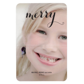 Merry Holiday Photo Simple Christmas Script Black Magnet