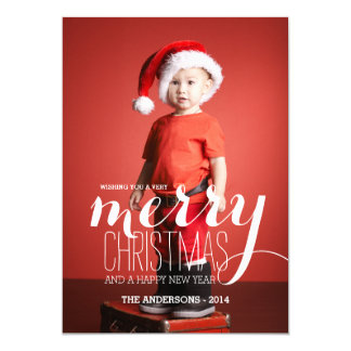 """Merry Holiday Wishes   Holiday Photo Card 5"""" X 7"""" Invitation Card"""