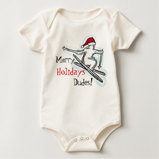 Merry Holidays Dudes fun santa skier baby outfit Baby Bodysuits