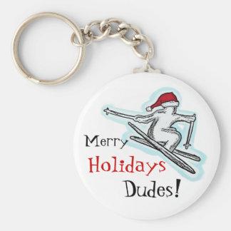 Merry Holidays Dudes fun santa skier keychain