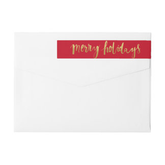 Merry Holidays Elegant Gold Script Custom Red Wrap Around Label