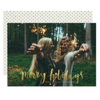 Merry Holidays Elegant Gold Script Photo Card