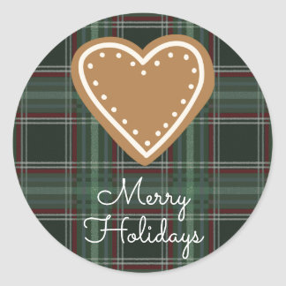 Merry Holidays Gingerbread Heart Plaid Classic Round Sticker