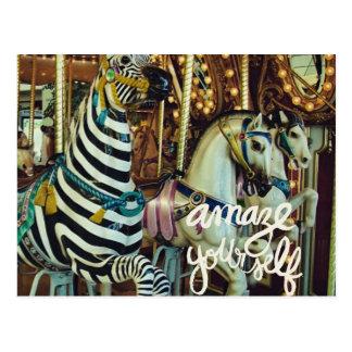 Merry Horse and Zebra Amaze Yourself Postcard